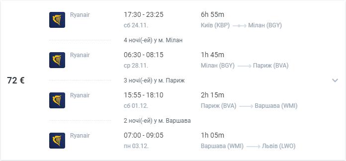 Милан и Париж в одной поездке с вылетом из Киева или Львова - все авиабилеты от €72! -